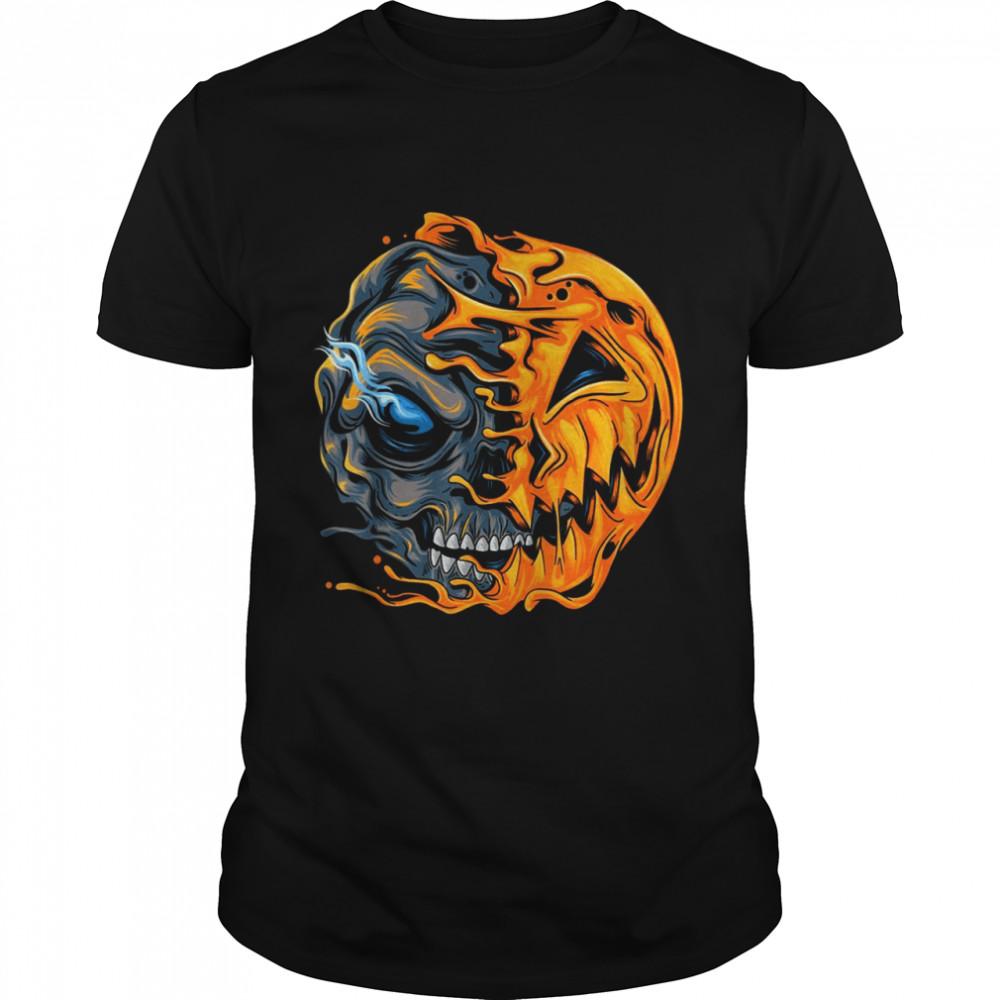 Boys Halloween pumpkin skull zombie shirt