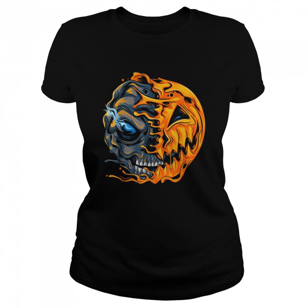 Boys Halloween pumpkin skull zombie shirt Classic Women's T-shirt