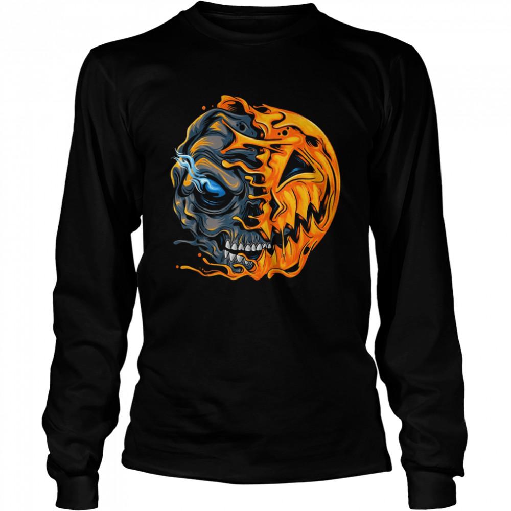 Boys Halloween pumpkin skull zombie shirt Long Sleeved T-shirt