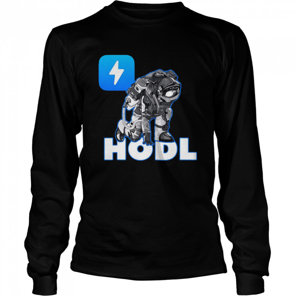 Hodl Zap Oracles Crypto Moon Man Astronaut Cryptocurrency T-shirt Long Sleeved T-shirt