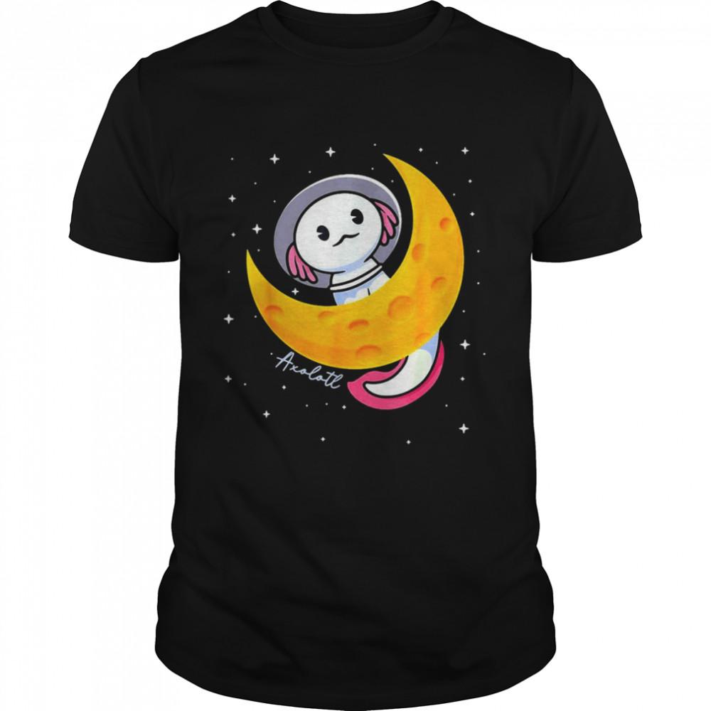 Kawaii Axolotl Japan Anime Comic Pastel Goth Space Moon T-shirt