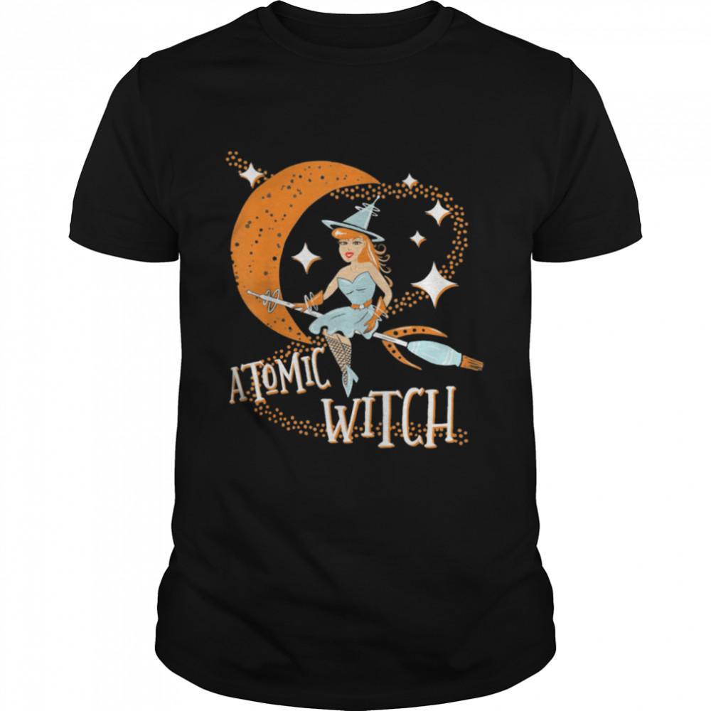 Atomic Witch Pinup Girl Retro Vintage Sexy Halloween shirt