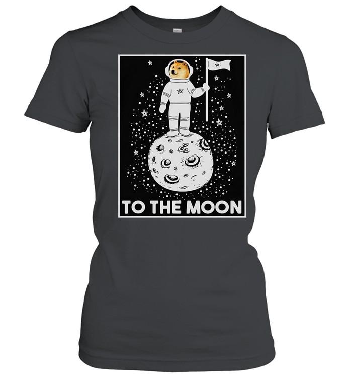 Doge Internet Meme Moon Space Dogecoin To The Moon T-shirt Classic Women's T-shirt