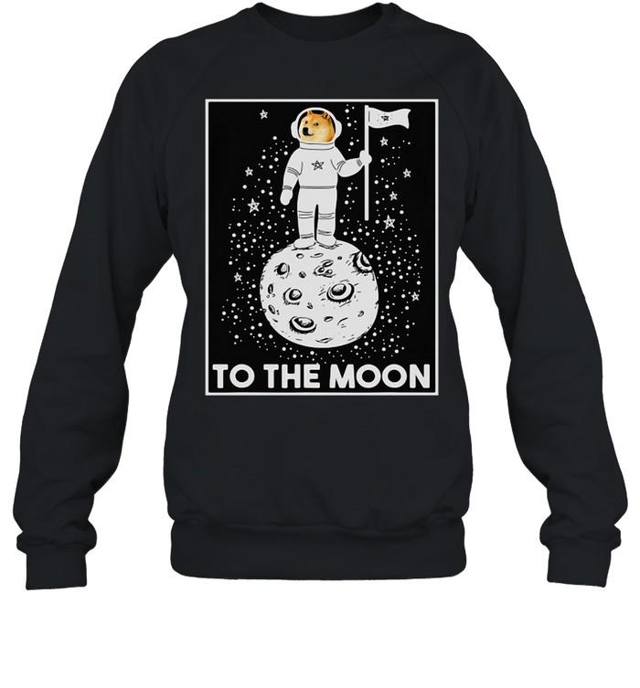 Doge Internet Meme Moon Space Dogecoin To The Moon T-shirt Unisex Sweatshirt