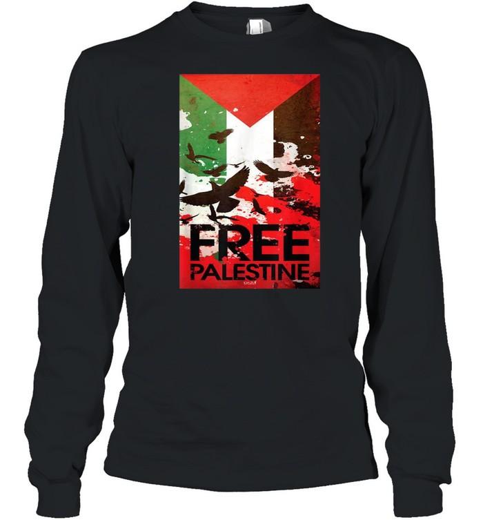 Free Gaza Palestine Flag Arabic shirt Long Sleeved T-shirt