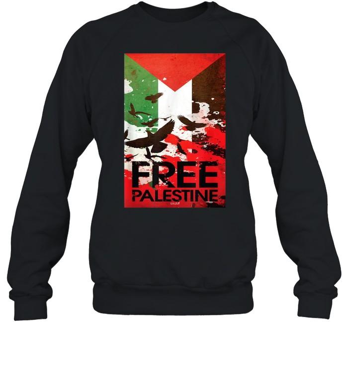 Free Gaza Palestine Flag Arabic shirt Unisex Sweatshirt