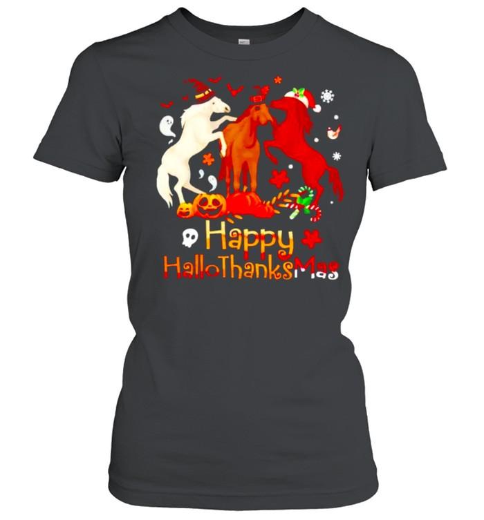 Horses Happy Hallothanksmas shirt Classic Women's T-shirt