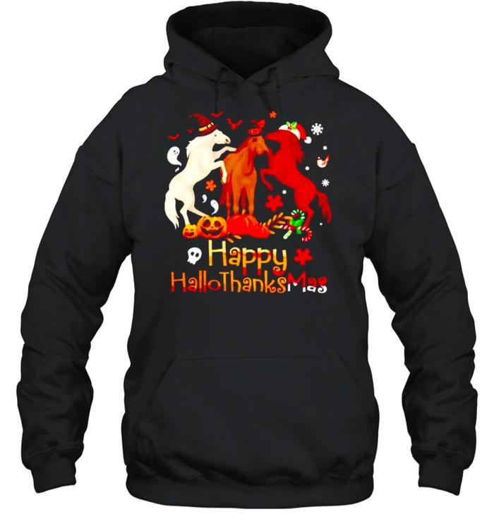 Horses Happy Hallothanksmas shirt Unisex Hoodie