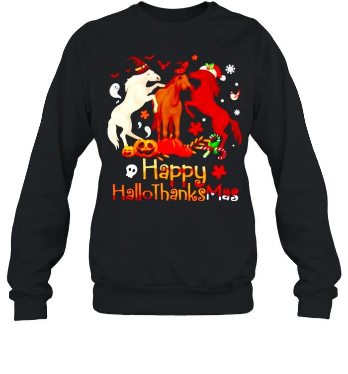 Horses Happy Hallothanksmas shirt Unisex Sweatshirt
