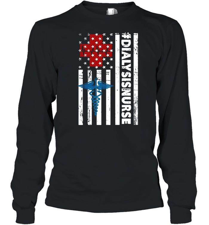 Nurse logo #Dialysisnurse American flag shirt Long Sleeved T-shirt