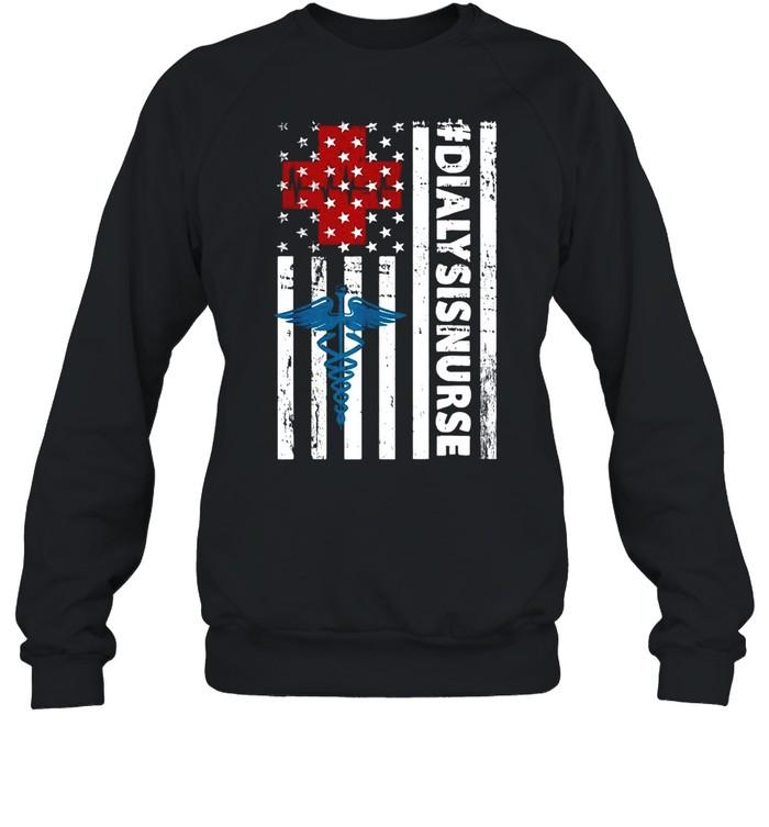 Nurse logo #Dialysisnurse American flag shirt Unisex Sweatshirt