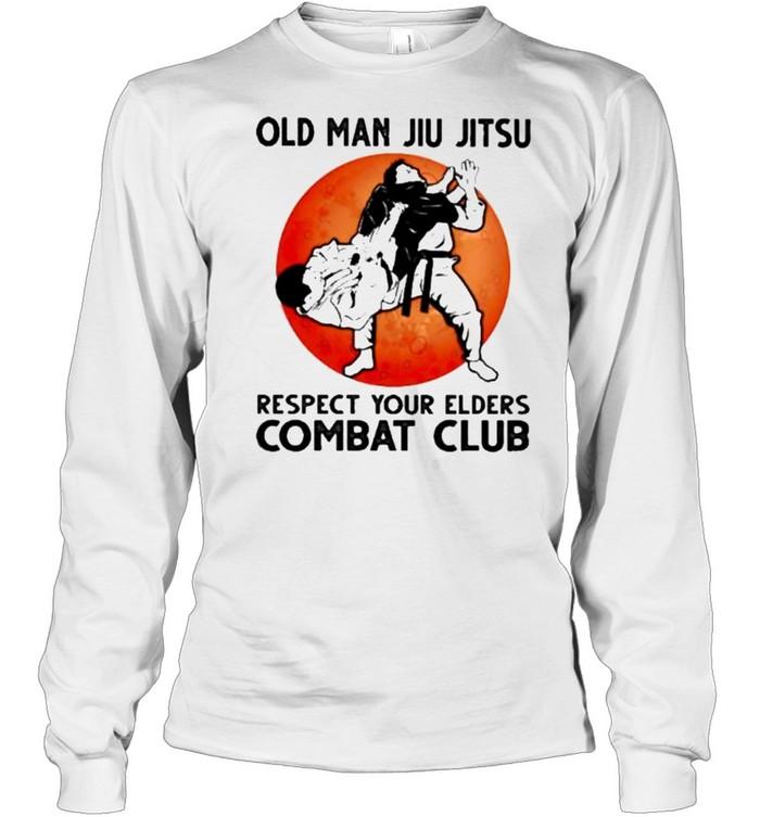 Old Man Jiu Jitsu Respect Your Elders Puck Club Blood Moon  Long Sleeved T-shirt