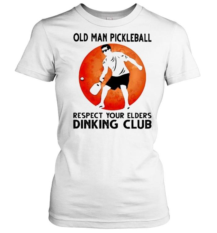 Old Man Pickleball Respect Your Elders Puck Club Blood Moon  Classic Women's T-shirt