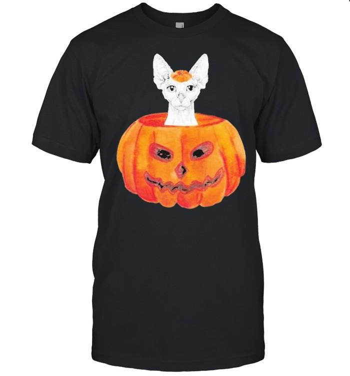 Sphynx Cat Pumpkin Halloween Shirt