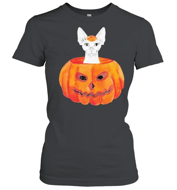 Sphynx Cat Pumpkin Halloween  Classic Women's T-shirt