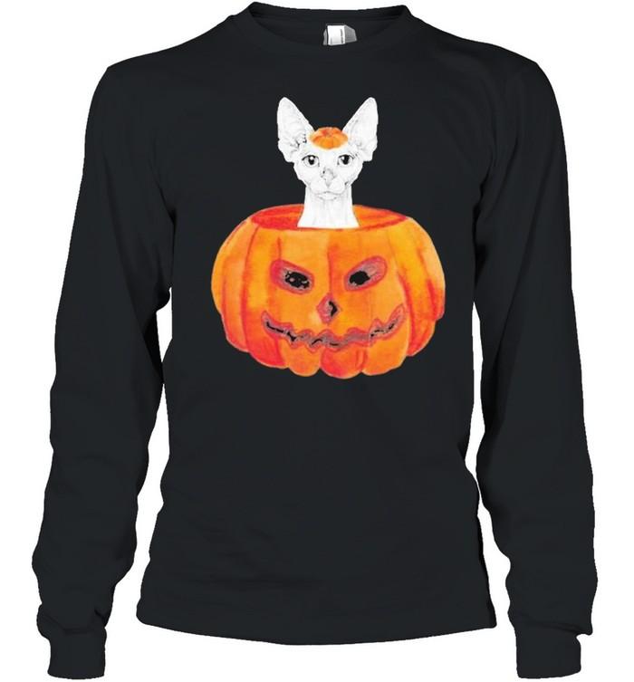 Sphynx Cat Pumpkin Halloween  Long Sleeved T-shirt