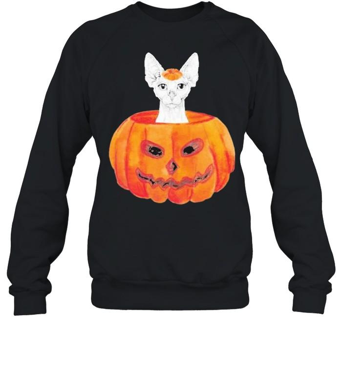 Sphynx Cat Pumpkin Halloween  Unisex Sweatshirt