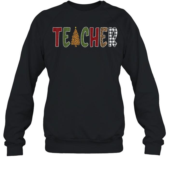 Teacher Buffalo Plaid Christmas Tree shirt Unisex Sweatshirt
