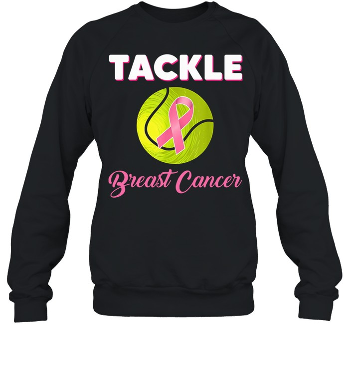 Tackle Breast Cancer Tennis Players Pink Ribbon Breast Cancer Awareness Sport  Unisex Sweatshirt