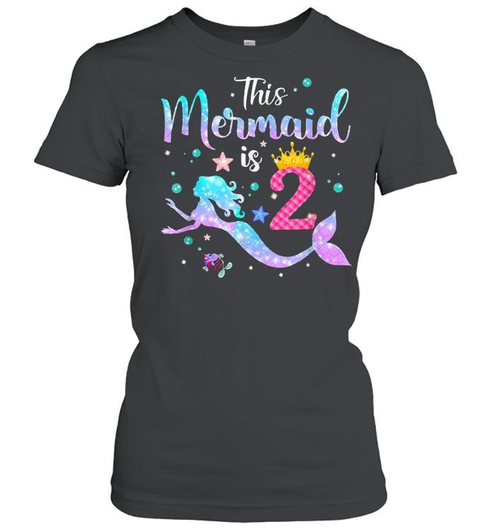 This Mermaid Is 2 Years Old Birthday T- Classic Women's T-shirt