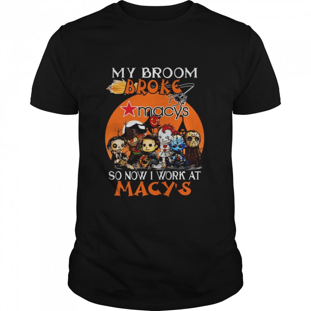 Chibi Horror characters my broom broke so now I work at Macy's Halloween shirt